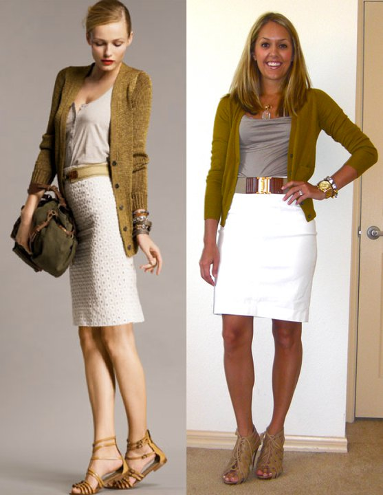 Occasion: Work   Inspiration photo: J.Crew   Cardigan: LOFT, $20   Shirt: Banana Republic, $17   Belt: Banana Republic, $30   Skirt: Banana Republic, $35   Shoes: Chinese Laundry/Piperlime, $34   Necklace: Banana Republic, $20   Charm: c/o Stella & Dot, $19   Watch: Michael Kors, family gift (  http://amzn.to/p3tIQV  )   Bracelet: Forever 21, $10