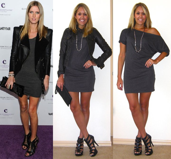 Occasion: Partying like a rockstar (j/k)   Inspiration photo:   FabSugar.com   Dress: c/o Lamixx, $35 (  http://tinyurl.com/3vnavam  , I'm wearing a size M)   Faux leather jacket (left): Forever 21, $40   Clutch: Urban Outfitters, $30   Necklace: LOFT, $20   Shoes: Carlos Santana/DSW, $33