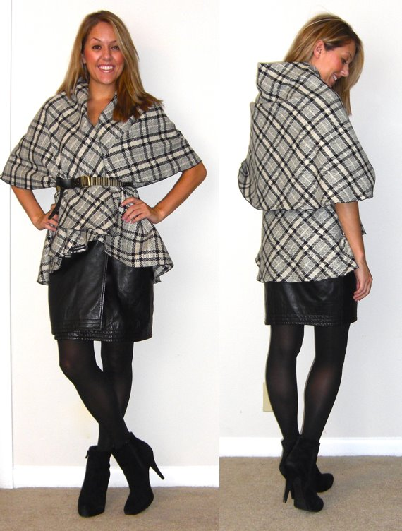 Plaid cape: c/o Happy Scarf, $84 (  http://www.happyscarf.com/servlet/the-New-Arrivals/Categories   - 20% off today for Cyber Monday)   Leather skirt: Handed down from a friend   Tights: Hue via TJ Maxx, $10   Belt: Forever 21, $10    Boots: Cynthia Rowley via TJ Maxx, $85