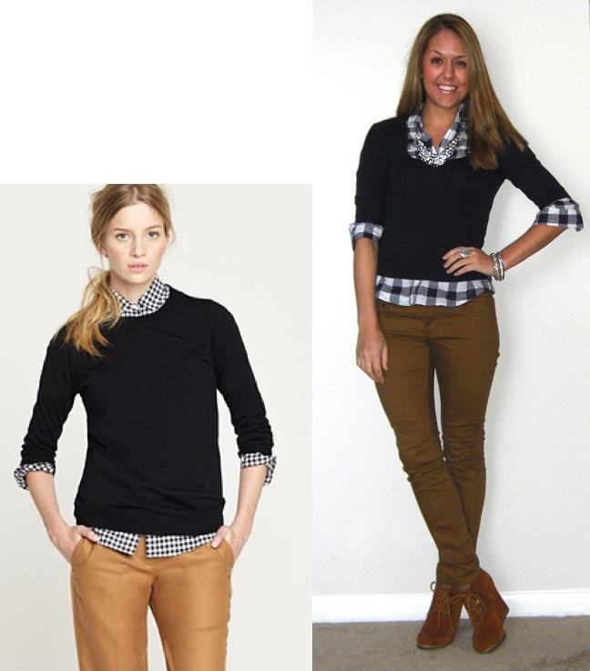 Inspiration photo: J.Crew   Sweater: Gap, old   Shirt: Forever 21, $18   Pants: Hwy Jeans c/o TJ Maxx, $18   Boots: Steve Madden Tanngoo from Endless, $47 -  http://bit.ly/uxpQPV   Necklace: JcPenney, $15   Bracelets: Banana Republic, H&M   Ring: c/o Bakers