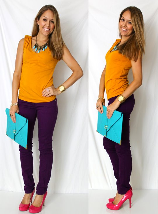 Giant clutch: ASOS, $35 -   http://bit.ly/Hg1eRJ   Shirt: Gap, $5 (similar -   http://bit.ly/HPEEdP  )   Necklace: Aldo, $15   Plum jeans: c/o Ross, $13 (similar -  http://bit.ly/HeD7gL  )   Shoes: Michael Antonio, $48 -   http://bit.ly/wGWvaY   Rings: LOFT pink ring $11, My Stella & Dot website $49   Watch: Michael Kors, family gift -   http://bit.ly/rGPKtg   Bracelets: Banana Republic $10, My Stella & Dot website $49