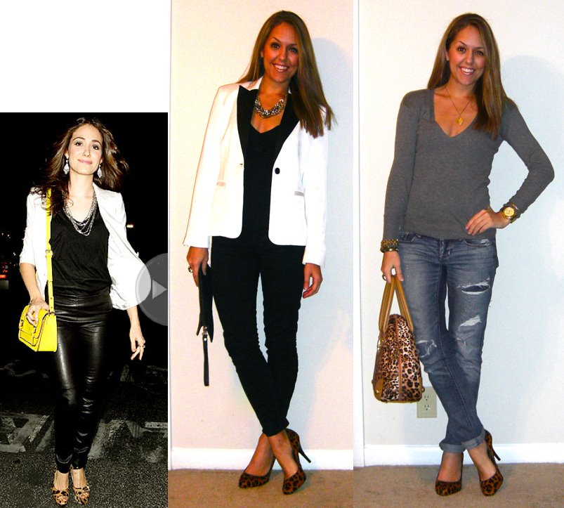 LEFT Inspiration photo:  People.com  Tuxedo jacket: c/o Express, $55 -  http://bit.ly/zmPOqJ  Sweater: Express, old Jeans: Gap, $35 Necklace: Banana Republic, $20 Shoes: Banana Republic, $60 -  http://bit.ly/zcL6aC  Purse: Urban Outfitters, $30  RIGHT Sweater: American Eagle, old Necklace: Banana Republic, $10  Jeans: American Eagle, $33 Shoes: Banana Republic, $60 -  http://bit.ly/zcL6aC  Purse: River Island, $60 Watch: Michael Kors, family gift Bracelets and ring: My Stella & Dot website - http://www.stelladot.com/sites/jspage