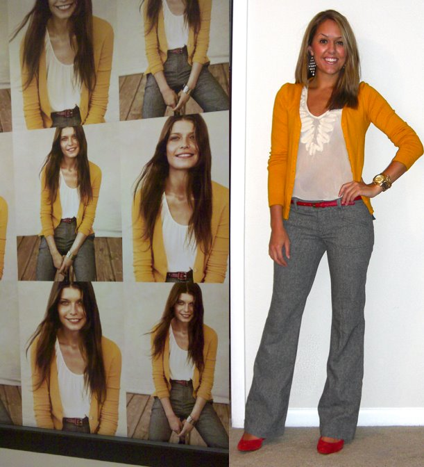 Inspiration photo: Banana Republic (snapped with my phone) Cardigan: H&M, $20 Shirt: Forever 21, $22 Belt: Forever 21, $5 Pants: American Eagle, really old Shoes: c/o Express, $33 -  http://bit.ly/rETX8Y  Earrings: Forever 21