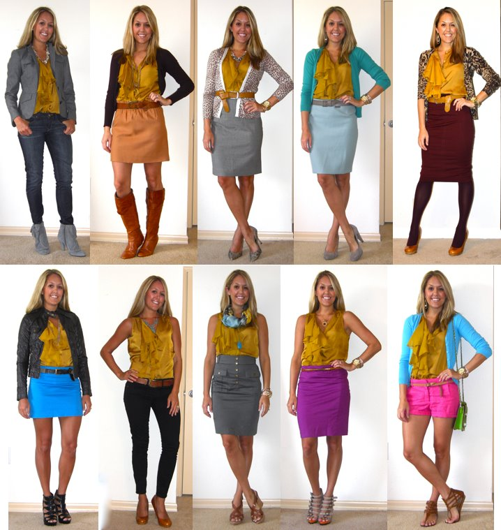 """Thanks to you, I am now becoming obsessed with mustard - and I'm not talking about the kind I put on a sandwich!""- Carolyn, a Facebook fan. Well Carolyn, that might be due in part to me posting 10 looks with this mustard shirt (Gap, $30) in a year's time. It's almost embarrassing how much I wear/post outfits with it - I was afraid you guys might have started to notice? At any r  ate, here's a look back at all the combinations I've done with this shirt - starting with the winter/fall looks on top and the more summery looks down below."
