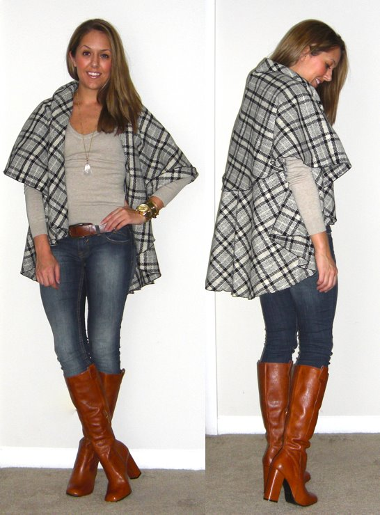 Plaid cape: c/o Happy Scarf, $84 -   http://bit.ly/tC5xW9   Sweater: H&M, $15   Jeans: Vigoss c/o Nordstrom Rack, $35   Belt: H&M, $20   Necklace: Stella & Dot   Boots: Grifter c/o Chinese Laundry, $149 -  http://bit.ly/tWSlYf