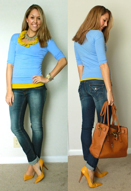 Sweater: Gap, really old   Shirt: J.Crew, $25   Necklace: Banana Republic, $40   Jeans: Vigoss c/o Nordstrom Rack, $35 (recent)   Shoes: Bandolino via TJ Maxx, $25   Purse: c/o It's in the Bag, $99 -   http://www.z-bags.com/Melie-Bianco-Angela-Large-Lock-and-Key-Bag-p/50036.htm?1=1&CartID=0