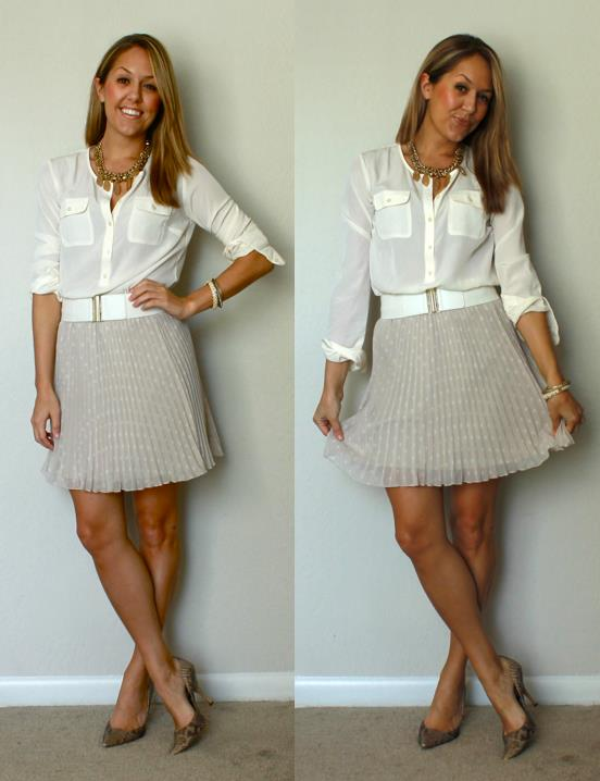Shirt: c/o LOFT, $30 (recent -  http://tinyurl.com/ctzwclk  )   Skirt: Express, $18 (recent)   Belt: H&M, $4   Shoes: Boutique 9, $70   Necklace: My Stella & Dot website, $171 (on sale!   http://tinyurl.com/bmzskvu  )
