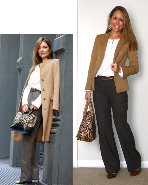 Inspiration photo: Harper's Bazaar   Blazer: Express, $25   Shirt: c/o LOFT, $30   Pants: Banana Republic, $50   Belt: Limited, $15   Pumps: Banana Republic, $60 -   http://bit.ly/zcL6aC   Purse: River Island, $60   Earrings: Banana Republic, $10 -   http://bit.ly/z3dM7E   Ring: My Stella & Dot website, $49 -  http://bit.ly/AhOhO4