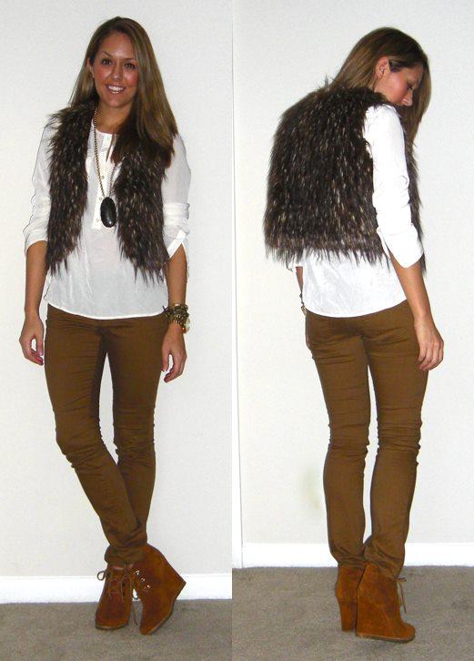 Faux fur vest: Rezrekshn c/o MJR Sales, $35 -  http://www.mjrsales.com/?ref=4   Necklace: My Stella & Dot website, $98 -  http://shop.stelladot.com/style/b2c_en_us/n228.html?s=jspage   Shirt: c/o LOFT, $20   Pants: Hwy Jeans c/o TJ Maxx, $15   Boots: Steve Madden Tanngoo from Endless, $47 -  http://bit.ly/uxpQPV