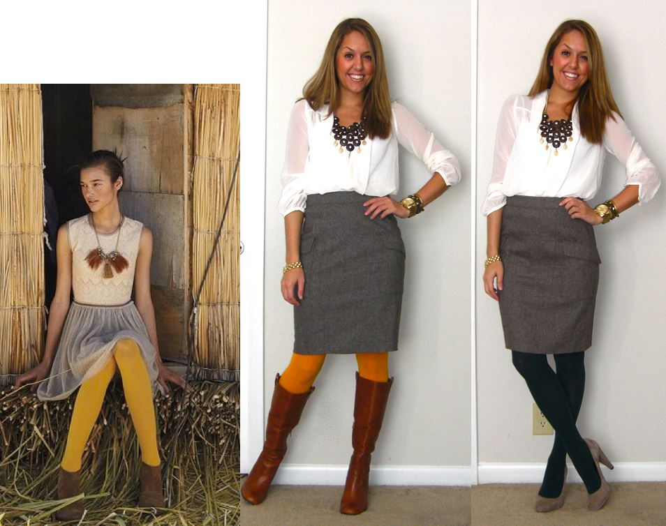 Inspiration photo: Anthropologie   Shirt: H&M, $20   Skirt: Ann Taylor c/o LOFT, $35 -   http://bit.ly/zTNZI6   Tights: Gold and Hunter green c/o We Love Colors, $12.50 -   http://bit.ly/qpfKLx   Boots: Grifter c/o Chinese Laundry, $149 -  http://bit.ly/tWSlYf   Pumps: Banana Republic, $50