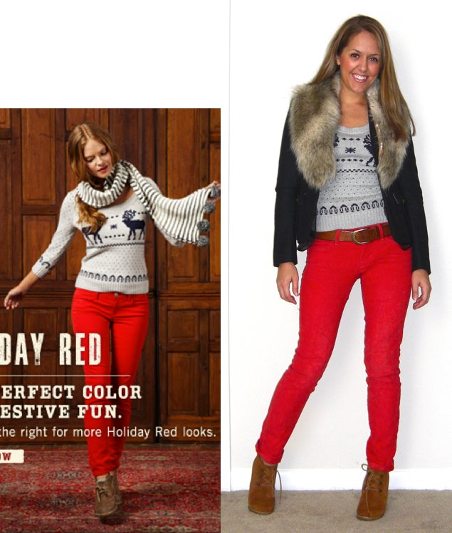 Inspiration photo: American Eagle   Sweater: American Eagle, $30   Coat: LOFT, $50   Faux fur collar: H&M, $15   Pants: Gap, $20   Belt: H&M, $20   Boots: Steve Madden Tanngoo from Endless, $47 -  http://bit.ly/uxpQPV