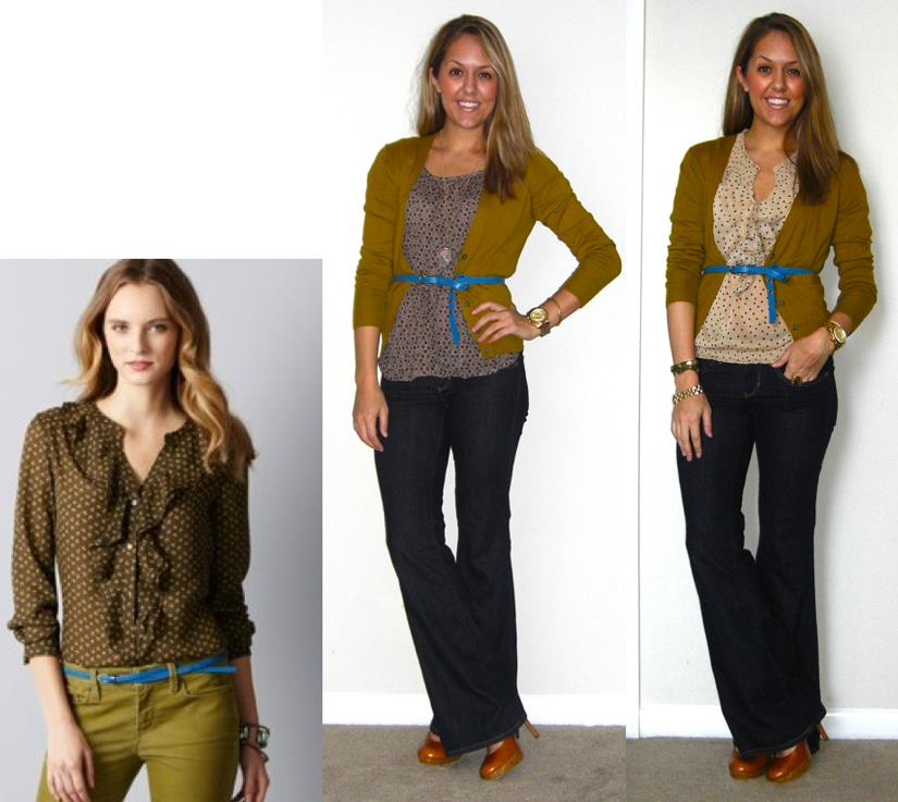 Inspiration photo: LOFT   Cardigan: LOFT, $20   Shirt on left: c/o   The Unique Closet  , $28 (old)   Shirt on right: Old Navy, $20   Belt: American Eagle, $15   Jeans: Gap, $15   Shoes: Restricted from Endless, $40   Necklace on left: Chain via my Stella & Dot website, $59 -   http://bit.ly/Axfa7h   Watch: Michael Kors, family gift -  http://amzn.to/qqJe2S   Bracelets: My Stella & Dot website, $49 and $59 -  http://bit.ly/tXB9AY     http://bit.ly/vahj2T   Ring: My Stella & Dot website, $49 -  http://bit.ly/AhOhO4