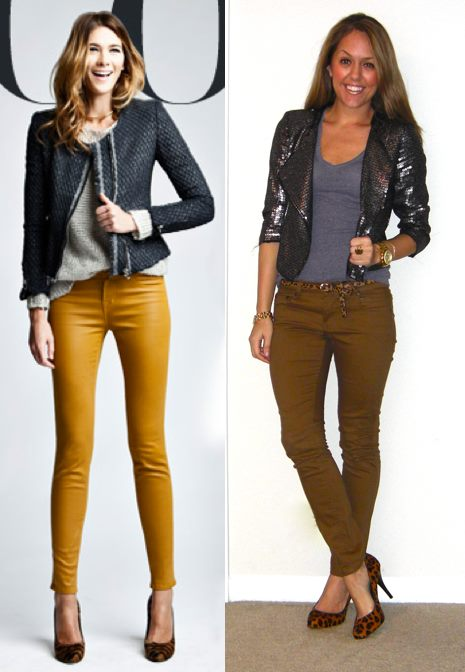 Inspiration photo: Intermix   Jacket: Express c/o MJR Sales, $15 (all sizes in stock!) -   http://bit.ly/uOhY0Q   T-shirt: Gap, $10   Pants: Hwy Jeans c/o TJ Maxx, $18   Shoes: Banana Republic, $60   Belt: Urban Outfitters, $20   Right bracelet: Banana Republic, $10   Ring: My Stella & Dot website, $49 -  http://bit.ly/AhOhO4   Watch: Michael Kors, family gift -  http://amzn.to/qqJe2S   Left bracelet: My Stella & Dot website, $49 -  http://bit.ly/tXB9AY