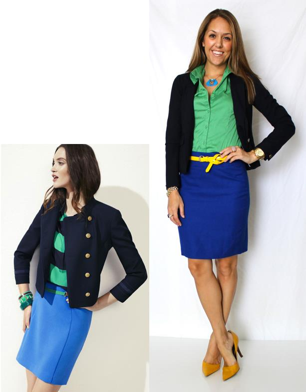 Inspiration photo: LOFT   Navy blazer: Gap, $75   Shirt: H&M, old   Skirt: Limited, $35 (similar:   http://bit.ly/wNMgs6  )   Belt: Forever 21, $6 -   http://bit.ly/zTGMVJ   Necklace: Topshop, $18   Shoes: Bandolino from TJ Maxx, $22   Watch: Michael Kors, family gift -  http://amzn.to/qqJe2S   Bracelets: Banana Republic $10, My Stella & Dot website $49 -   http://bit.ly/tXB9AY   Rings: LOFT $10   http://bit.ly/zY4AcD  , My Stella & Dot website, $49   http://bit.ly/AhOhO4