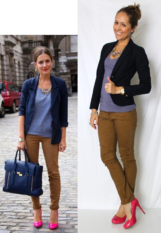 Inspiration photo: Tumblr   Navy blazer: Gap, $75   T-shirt: Gap, $10   Shoes: Michael Antonio, $48 -   http://bit.ly/wGWvaY   Necklace: Banana Republic, $25   Pants: Hwy Jeans c/o TJ Maxx, $18   Watch: Michael Kors, family gift -  http://amzn.to/qqJe2S   Bracelets: Banana $10, My Stella & Dot website $49  http://bit.ly/tXB9AY   Rings: LOFT $10   http://bit.ly/zY4AcD  , My Stella & Dot website, $49   http://bit.ly/AhOhO4