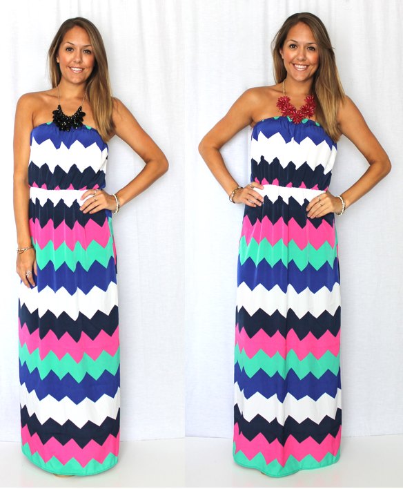 Chevron Dress, $39.99 Left necklace, $12.99 Right necklace, $38.99