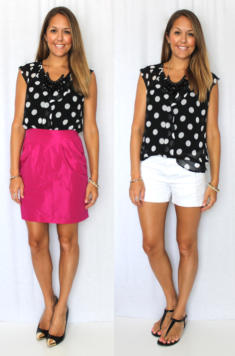 Polka dot top, $29.99 Necklace, $12.99