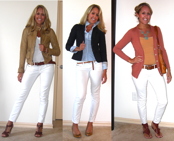 Outfits with white jeans for spring