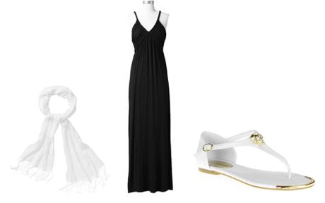 Scarf  /  Dress  /  Sandals