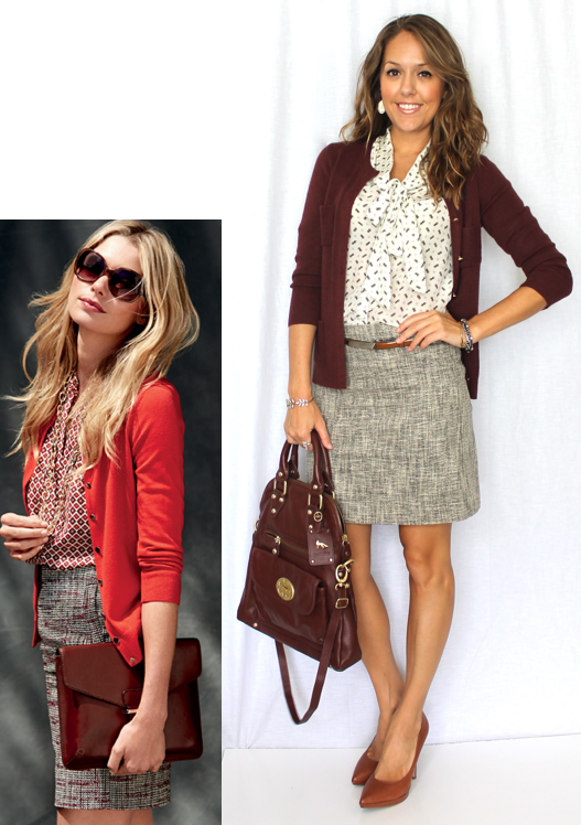 Inspiration: Banana Republic Top, Skirt, Sweater, Clutch