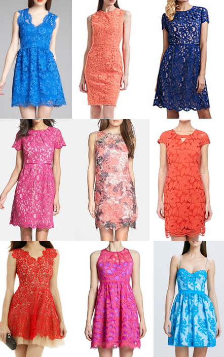 colorful lace dresses