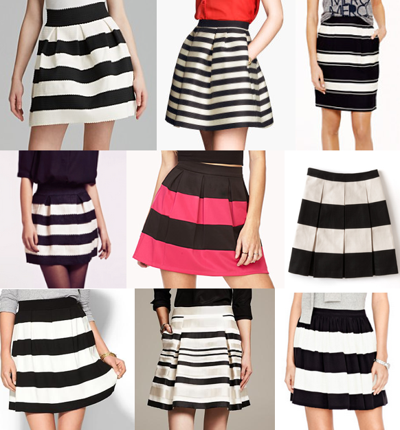 striped skirts shopping