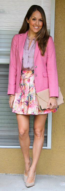 florals pink tweed blazer outfit