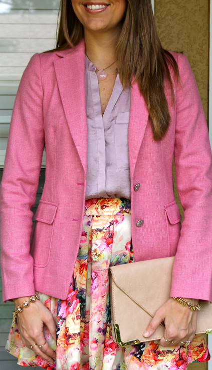 pink blazer floral skirt outfit