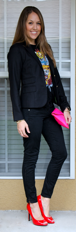 red pumps black jeans outfit