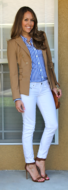 White jeans camel blazer outfit