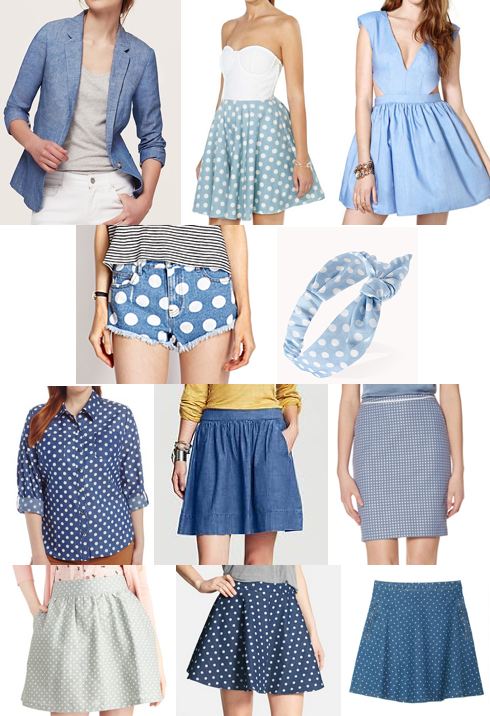 Polka dot chambray shopping