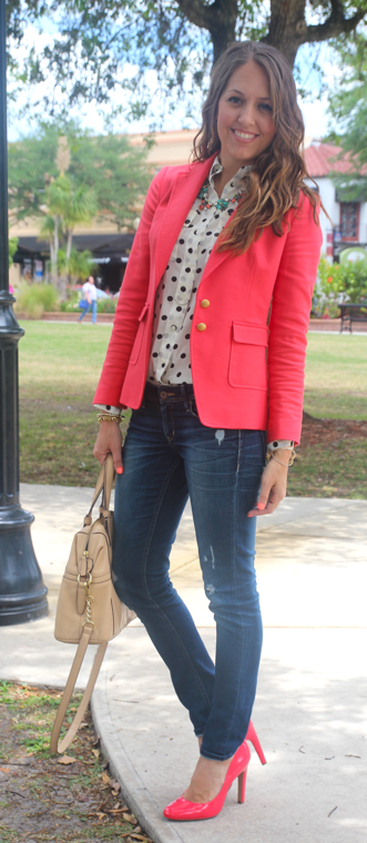 Coral blazer outfit