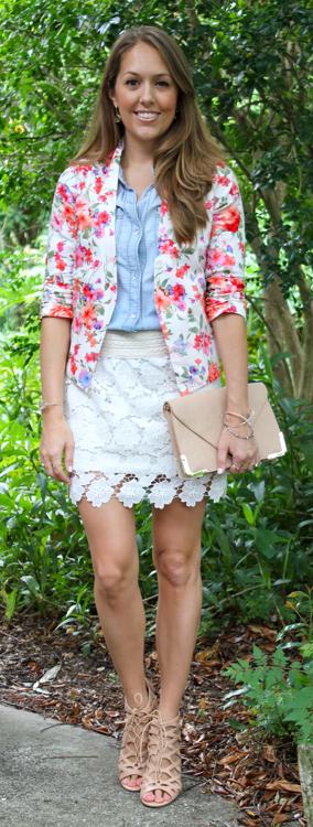 Floral blazer crochet skirt outfit