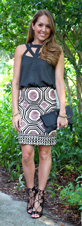 Loft geometric skirt