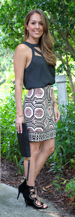 Loft Geo Pencil Skirt