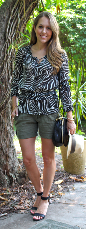 Zebra top and green linen shorts