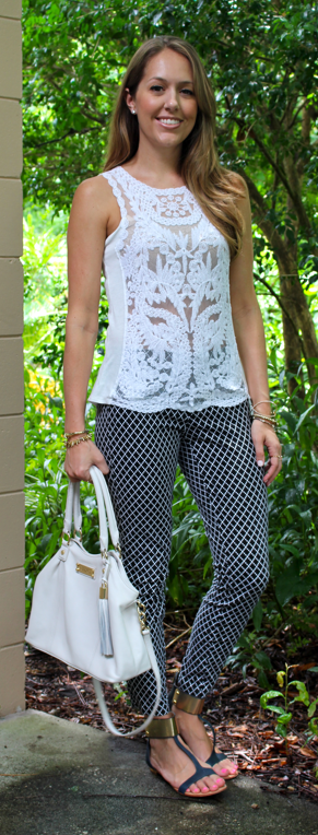 Crochet top with printed pants