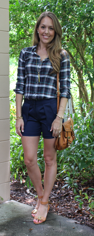Plaid top with shorts