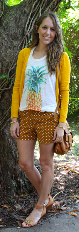 Pineapple top and polka dots outfit