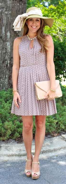 Polka dot J.Crew dress with Ann Taylor hat