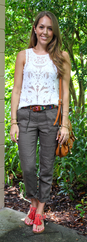 Crochet top and military green pants