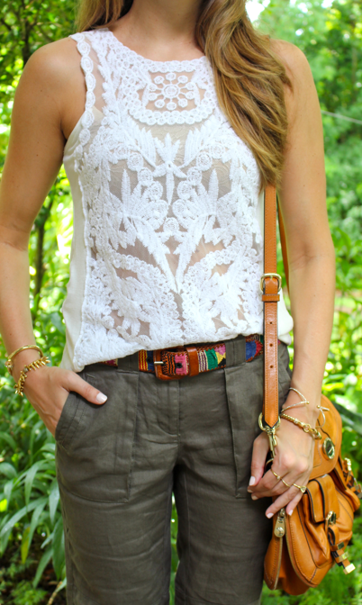 Vintage woven belt with crochet top and linen pants
