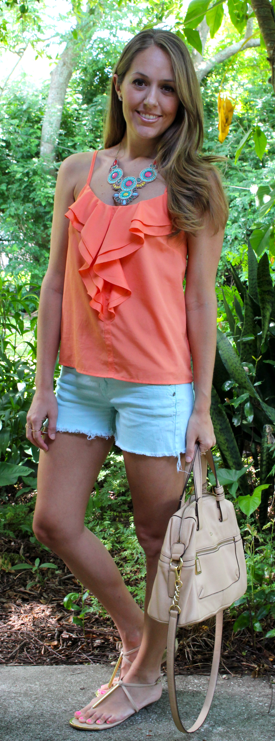 Coral and mint outfit idea
