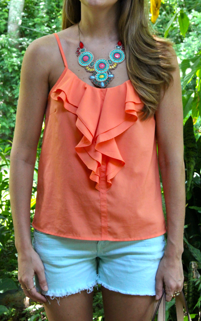 Coral and mint summer outfit