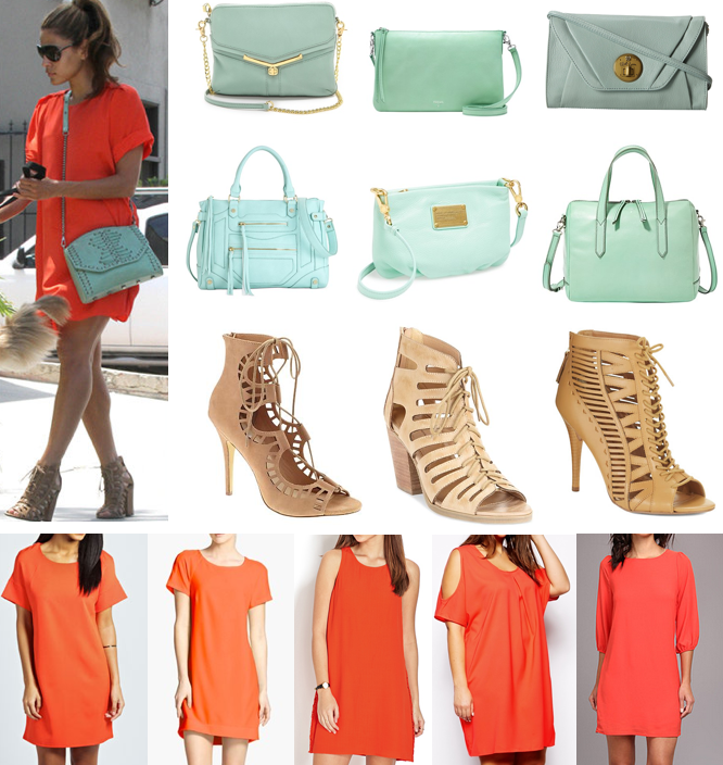 The look for less: Eva Mendes coral dress mint purse