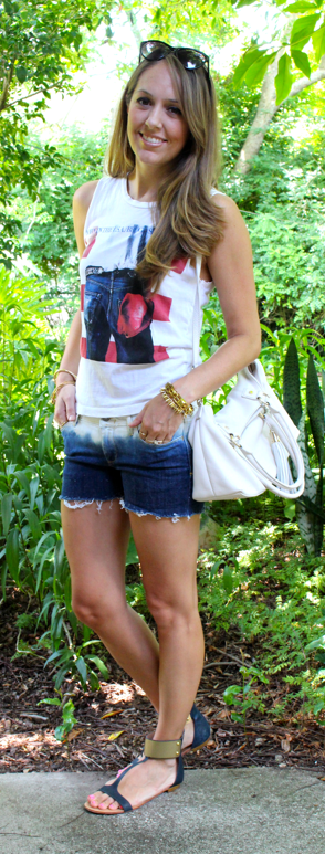 Graphic tee and tie dye shorts