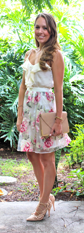 Full rose skirt with ruffle tank