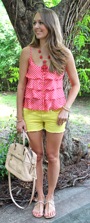 Coral striped tank with yellow shorts