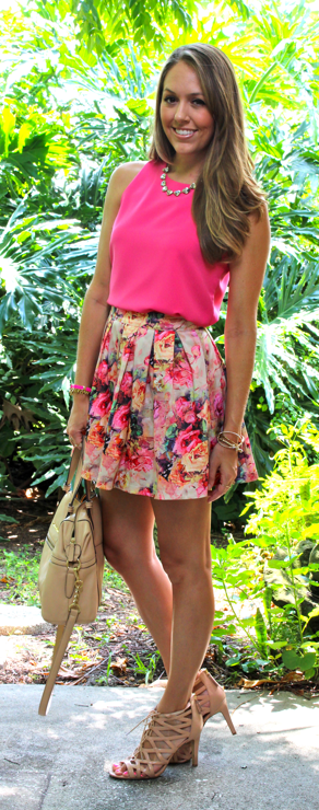 Pleated floral skirt with hot pink top