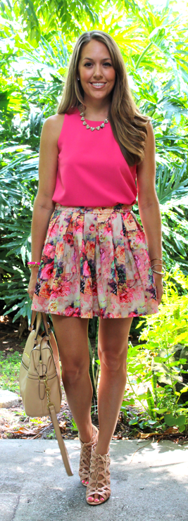 Hot pink top with floral skirt
